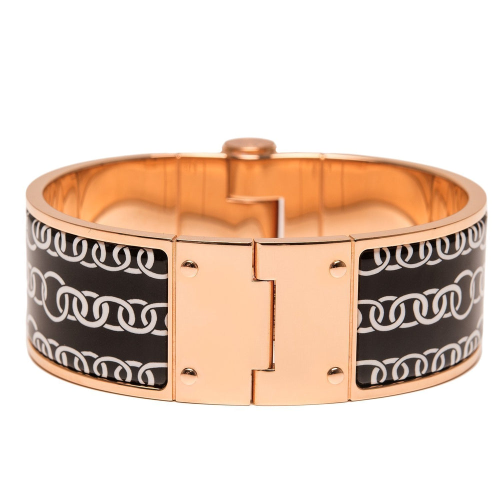 Hermes Balades Equestres Wide Printed Hinged Enamel Bracelet Small Accessories