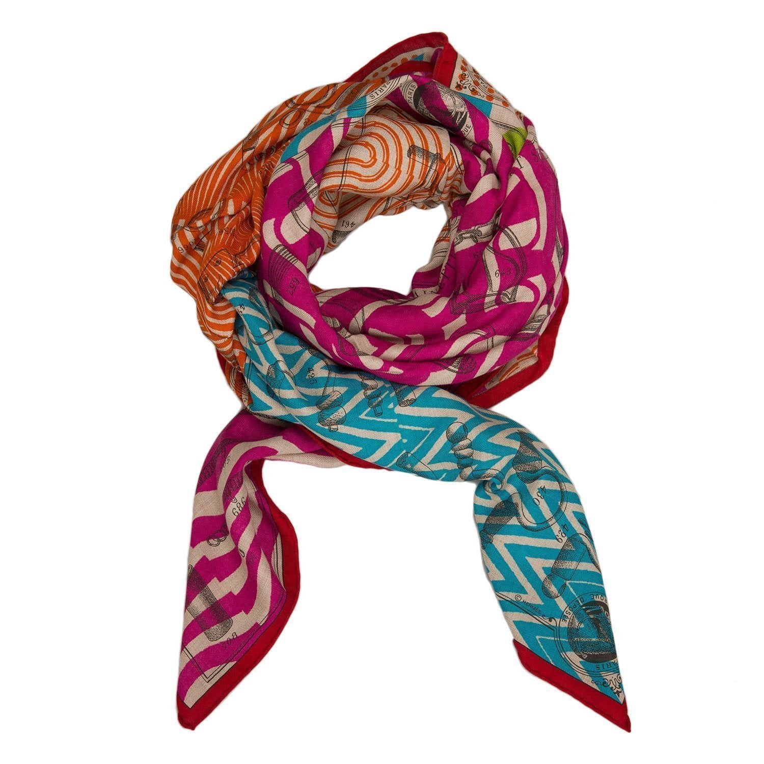 Hermes Manufacture De Boucleries Cashmere And Silk Shawl 140Cm Scarves