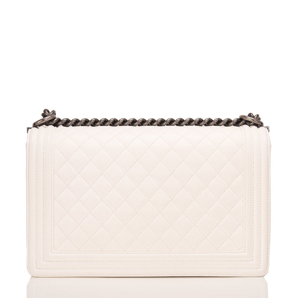 Chanel White Quilted Lambskin Medium Boy Bag Handbags