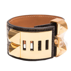 Hermes Black Matte Alligator Collier De Chien Cdc Bracelet Small Gold Hardware Accessories