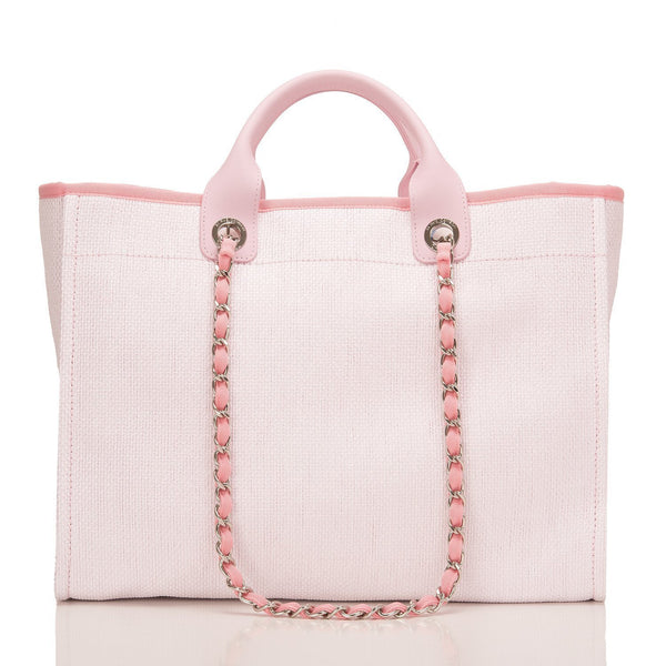 Chanel Large Pink Deauville Canvas Tote Handbags