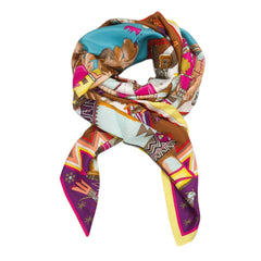 Hermes Kachinas Summer Silk Twill Shawl 140Cm Scarves
