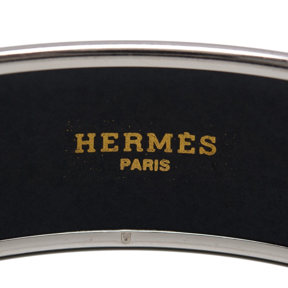 Hermes Torana Wide Printed Enamel Bracelet Gm 70 Preloved Mint Accessories