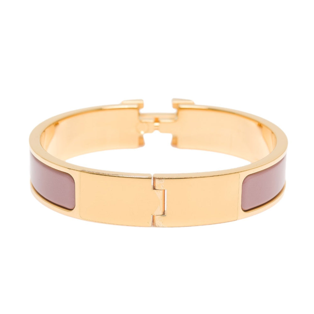 Hermes Bois De Rose Clic Clac H Narrow Enamel Bracelet Pm Accessories