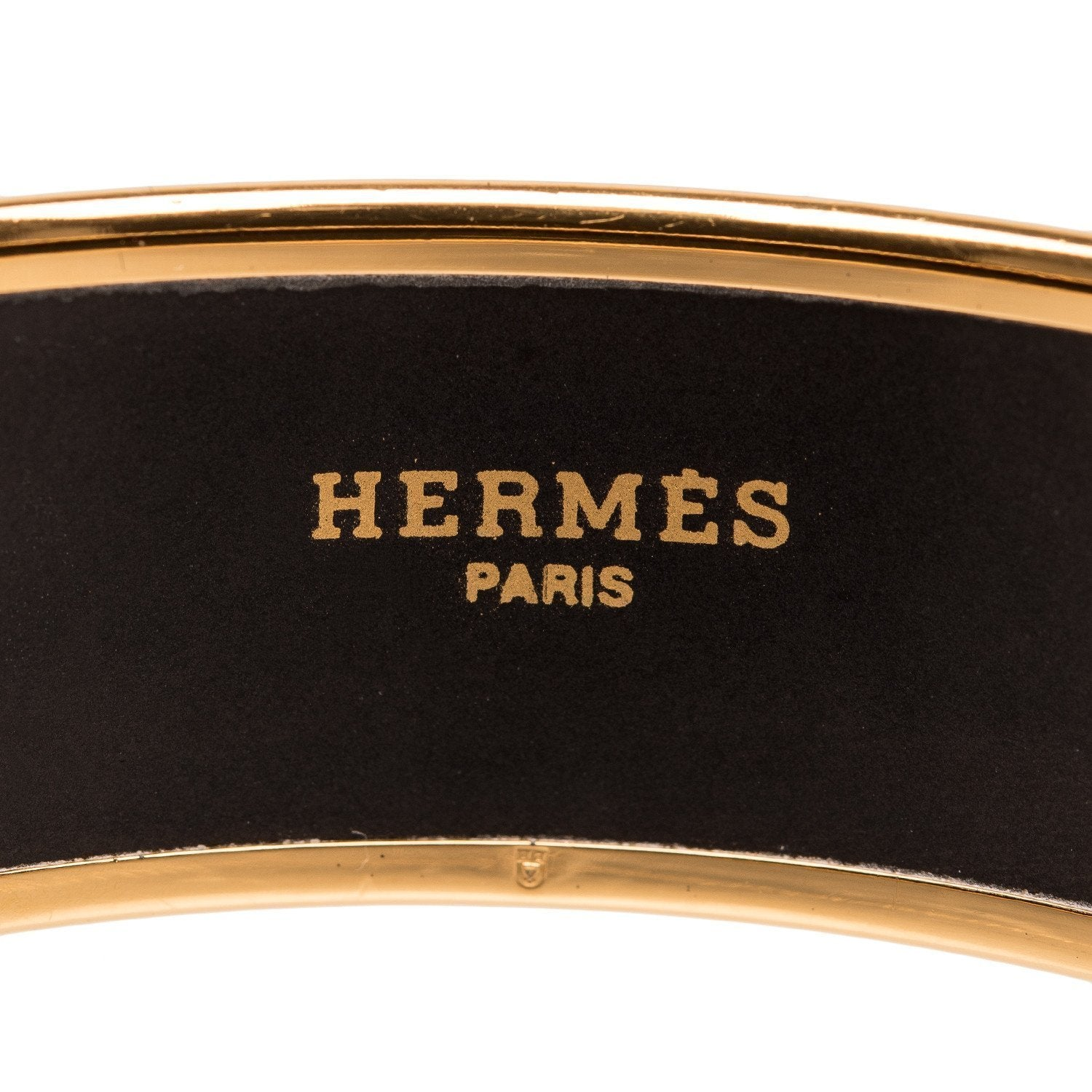 Hermes Horse And Carriage Printed Wide Enamel Bracelet Pm 65 Gold Hardware Accessories