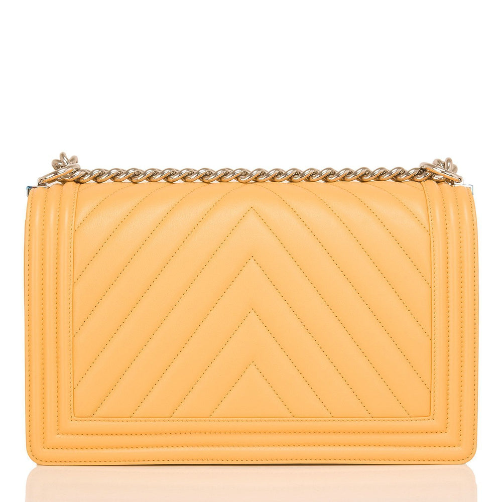 Chanel Yellow Chevron Quilted Lambskin New Medium Boy Bag Handbags