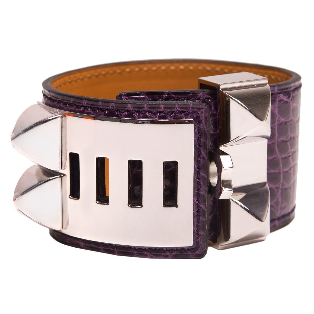 Hermes Amethyst Alligator Collier De Chien Cdc Small Bracelet Accessories