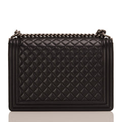 Chanel Black Quilted Lambskin Large Boy Bag Handbags