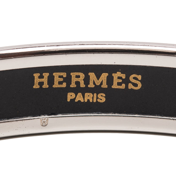 Hermes Recherche Narrow Printed Enamel Bracelet Pm 65 Preloved Mint Accessories