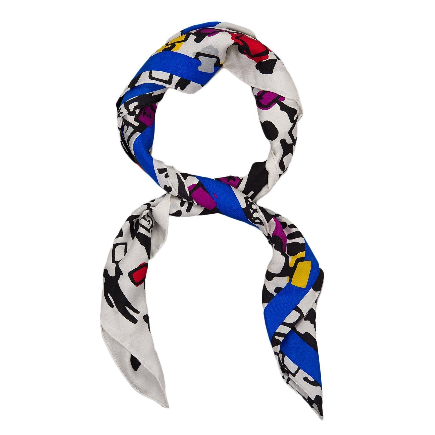 Chanel Demonstrate Logo Silhouette Silk Scarf Scarves