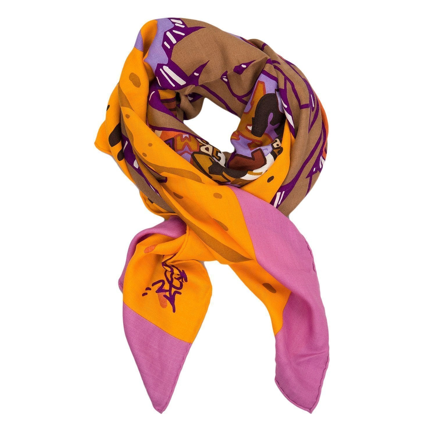 Hermes Graff Graffiti Cashmere And Silk Shawl 140Cm Scarves