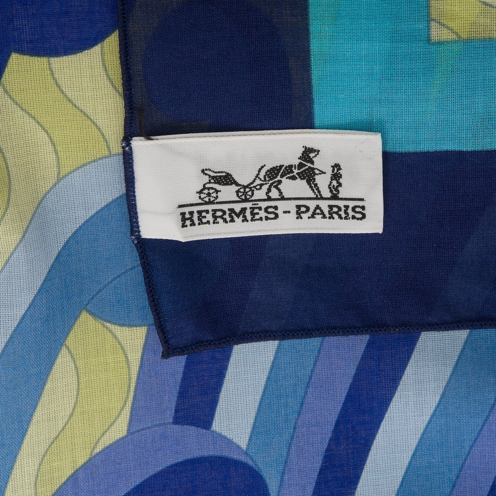 Hermes Vagues Et Coquillages Cotton Beach Pareo Scarves