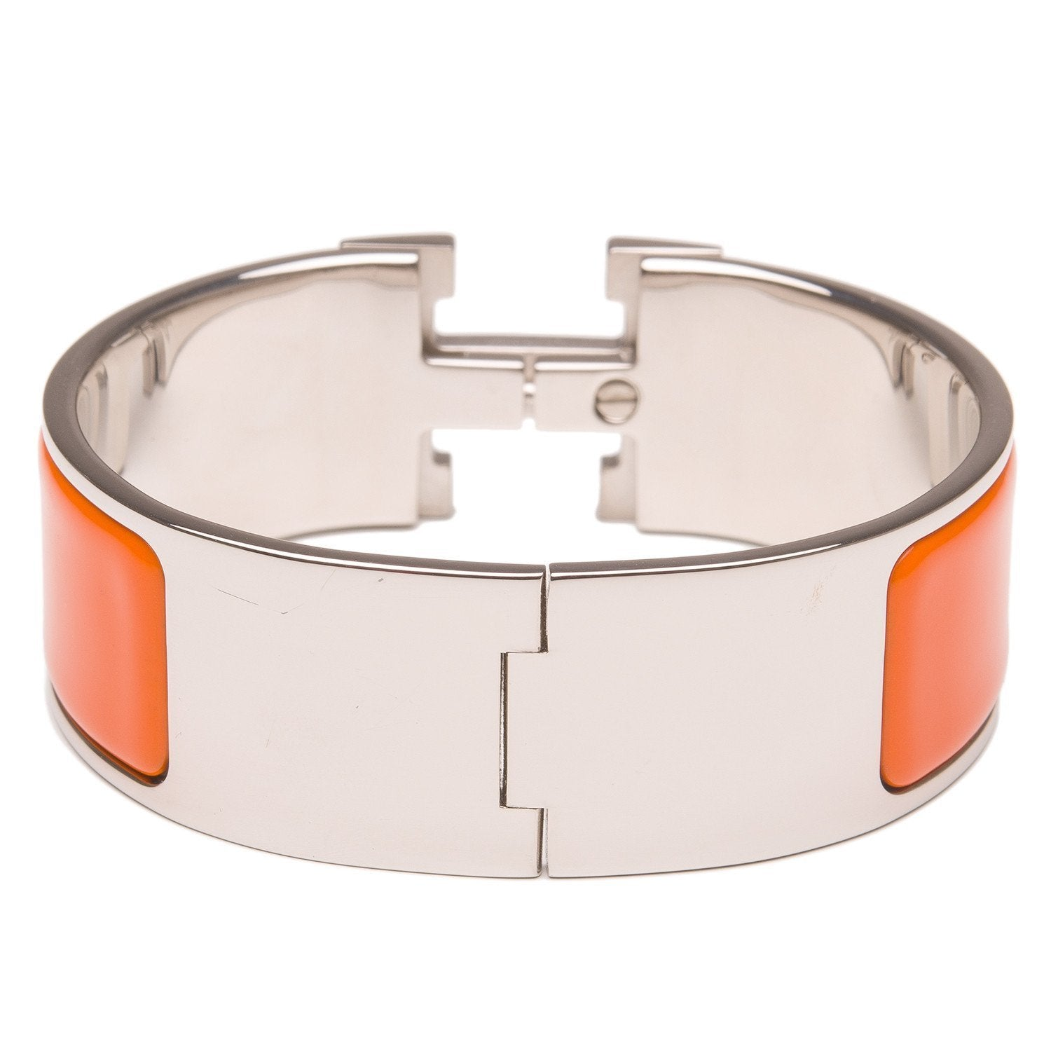 Hermes Orange Clic Clac H Wide Enamel Bracelet Pm Accessories