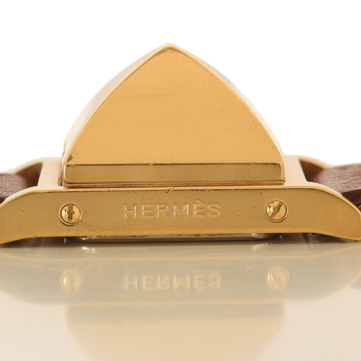 Hermes Gold Courcheval Leather Medor Watch Pm Preloved Excellent Accessories