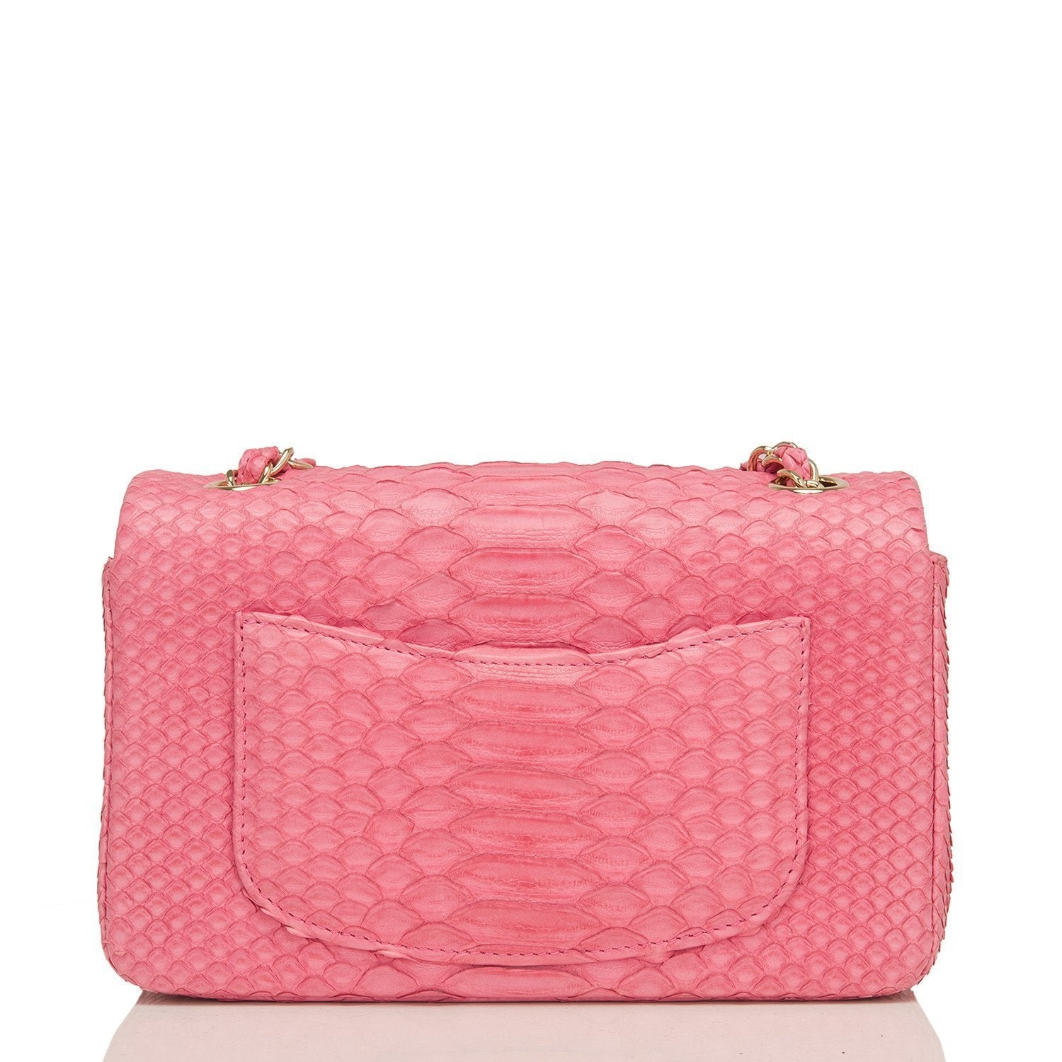 Chanel Pink Python Rectangular Mini Classic Flap Bag Handbags