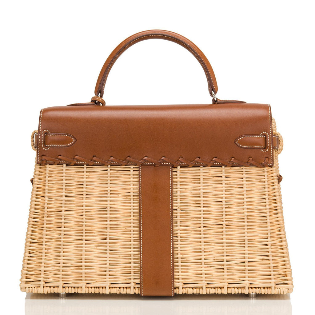 Hermes Wicker And Barenia Leather Kelly Picnic Bag 35Cm Palladium Hardware Handbags