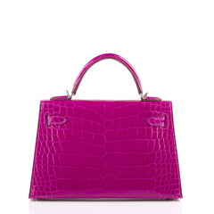 Hermes Rose Scheherazade Shiny Alligator Sellier Kelly 20Cm Palladium Hardware Handbags