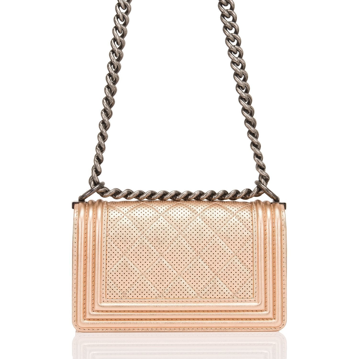 Chanel Rose Gold Metallic Perforated Calfskin Small Boy Bag Handbags