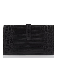 Hermes Black Matte Alligator Jige Duo Wallet Handbags