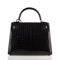 Hermes Black Shiny Niloticus Crocodile Sellier Kelly 28Cm Handbags