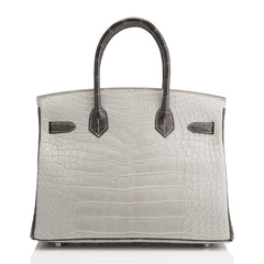 Hermes Hss Bi Color Gris Perle And Graphite Matte Alligator Birkin 30Cm Brushed Palladium Hardware