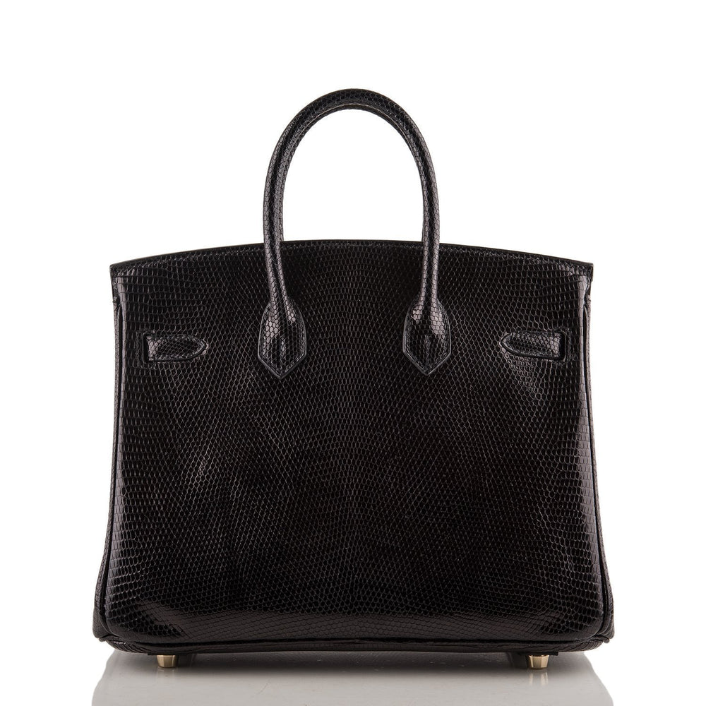 Hermes Black Shiny Lizard Birkin 25Cm Gold Hardware Preloved Mint Payment 1 Handbags
