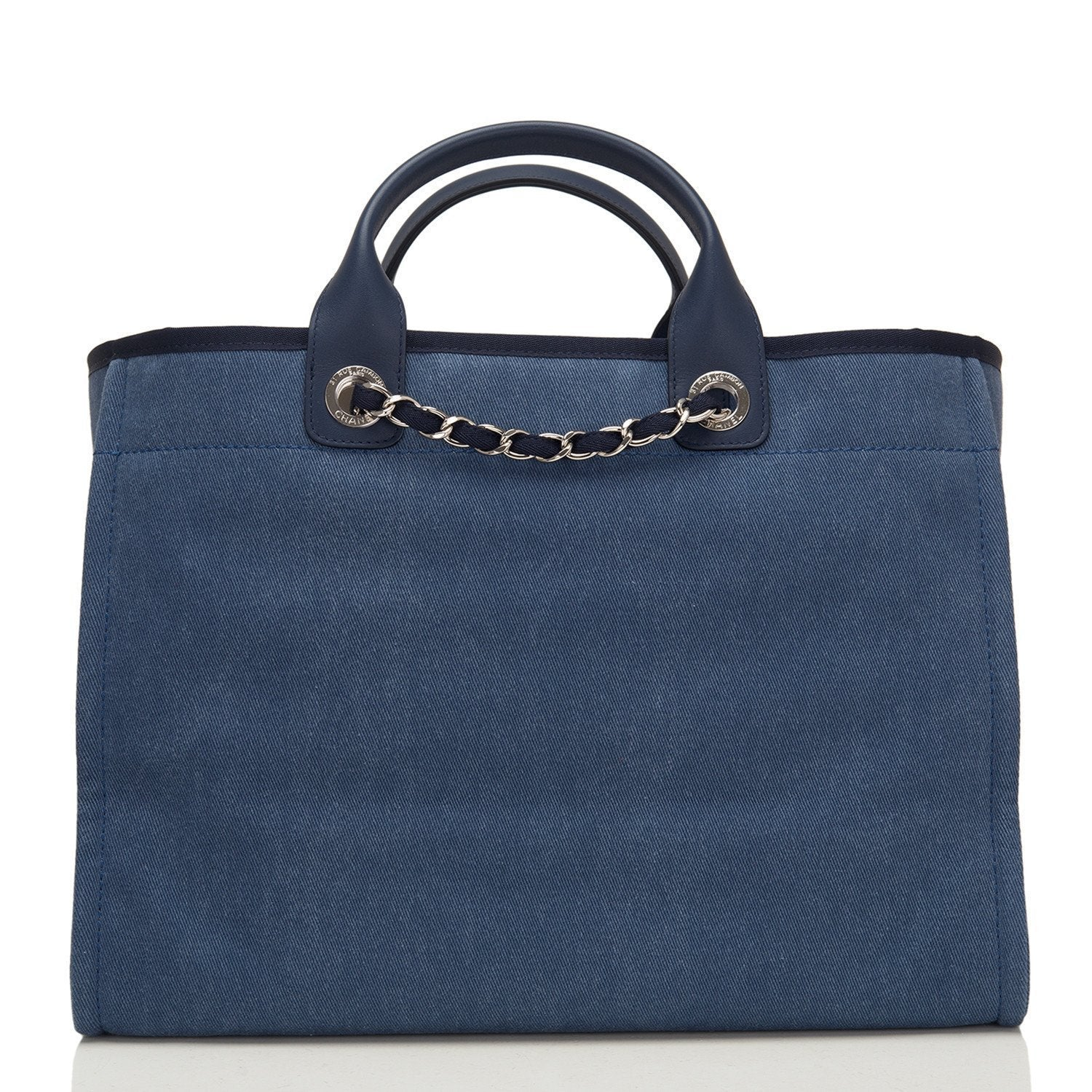 cee1cb93e0a7 ... Chanel Large Navy Canvas With Sequins Deauville Tote Handbags ...