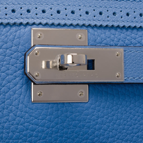 Hermes Blue Paradise Clemence Ghillies Kelly 32Cm Palladium Hardware Handbags