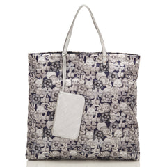 Chanel Grey Navy And Silver Cc Peace Cat Graphic Printed Large Shopping Tote Handbags