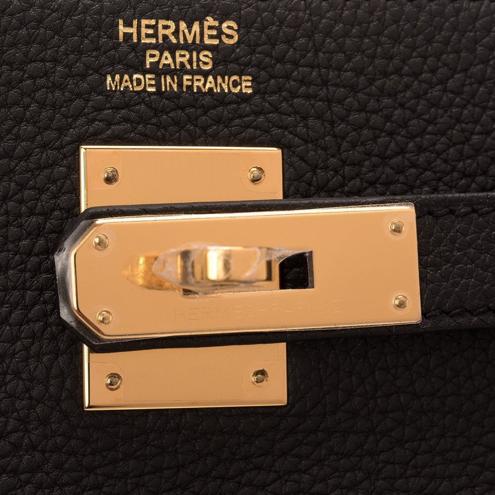 Hermes Black Togo Retourne Kelly 35Cm Gold Hardware Handbags