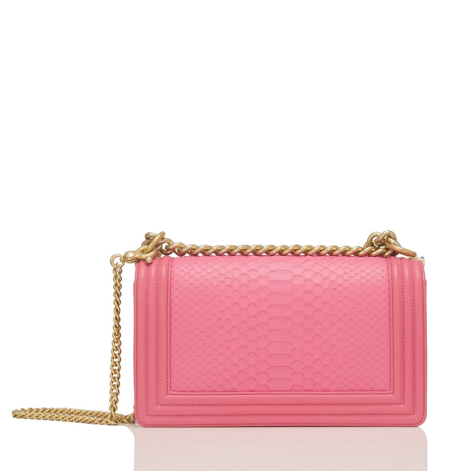 Chanel Pink Python Medium Boy Bag Handbags