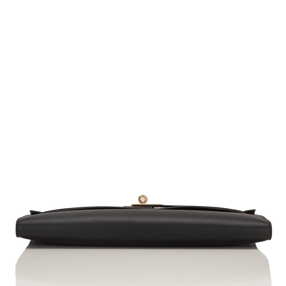 Hermes Black Swift Kelly Cut Gold Hardware Handbags