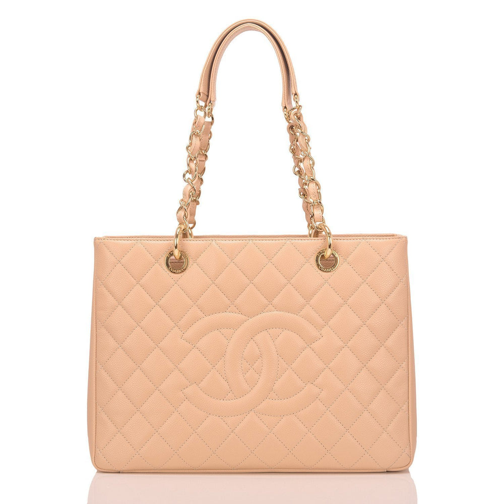 Chanel Light Beige Caviar Grand Shopping Tote Gst Handbags