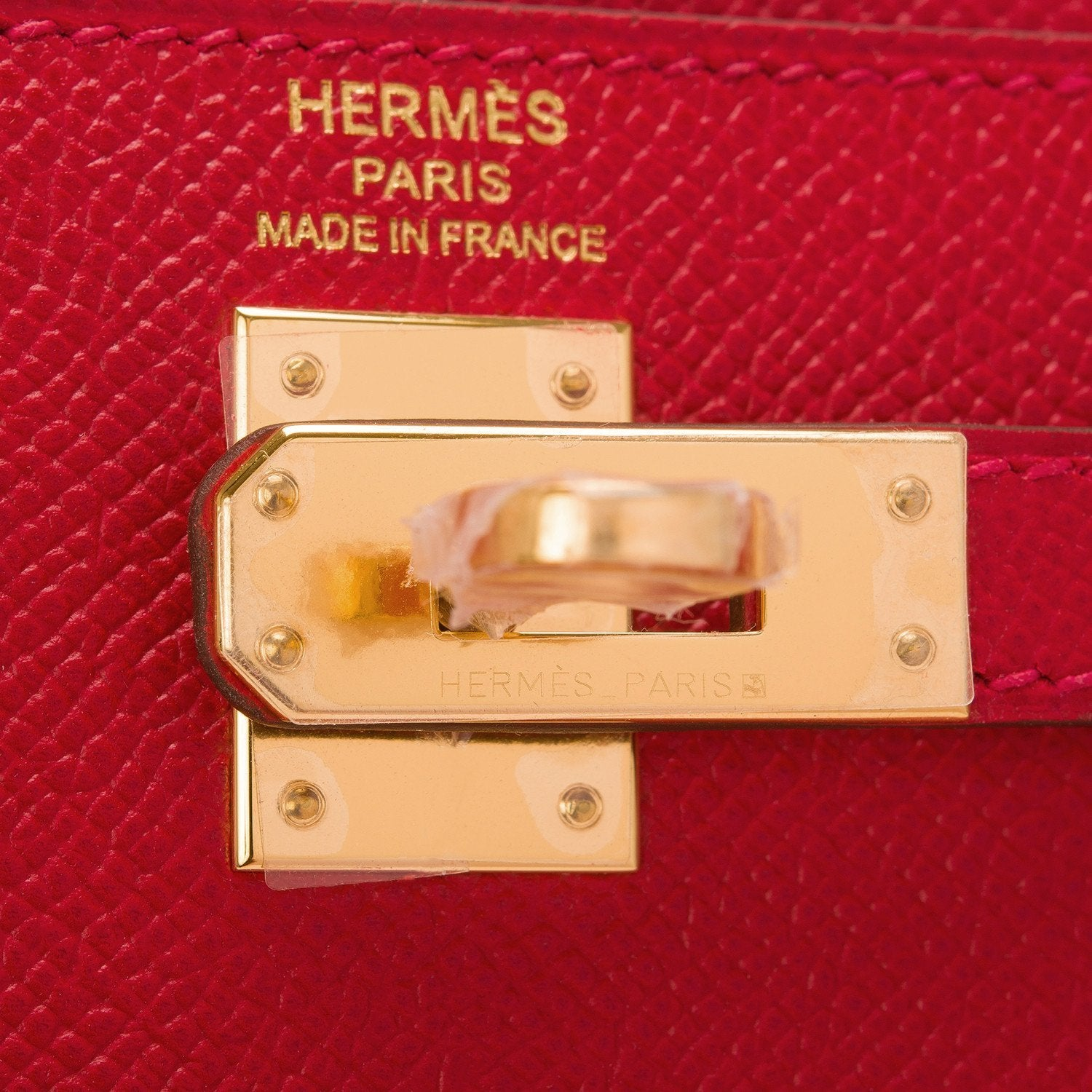 Hermes Rouge Casaque Epsom Sellier Kelly 25Cm Gold Hardware Handbags