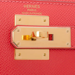 Hermes Rose Jaipur Epsom Sellier Kelly 28Cm Gold Hardware Handbags