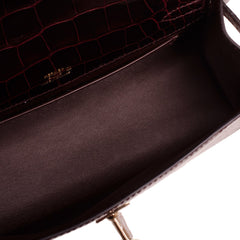 Hermes Bordeaux Shiny Alligator Mini Kelly Pochette Handbags