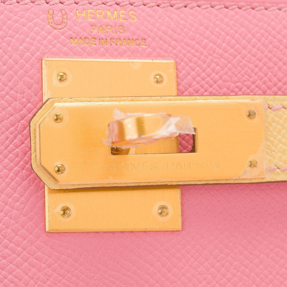 Hermes Hss Bi Color Rose Confetti And Jaune Poussin Epsom Sellier Kelly 28Cm Brushed Gold Hardware