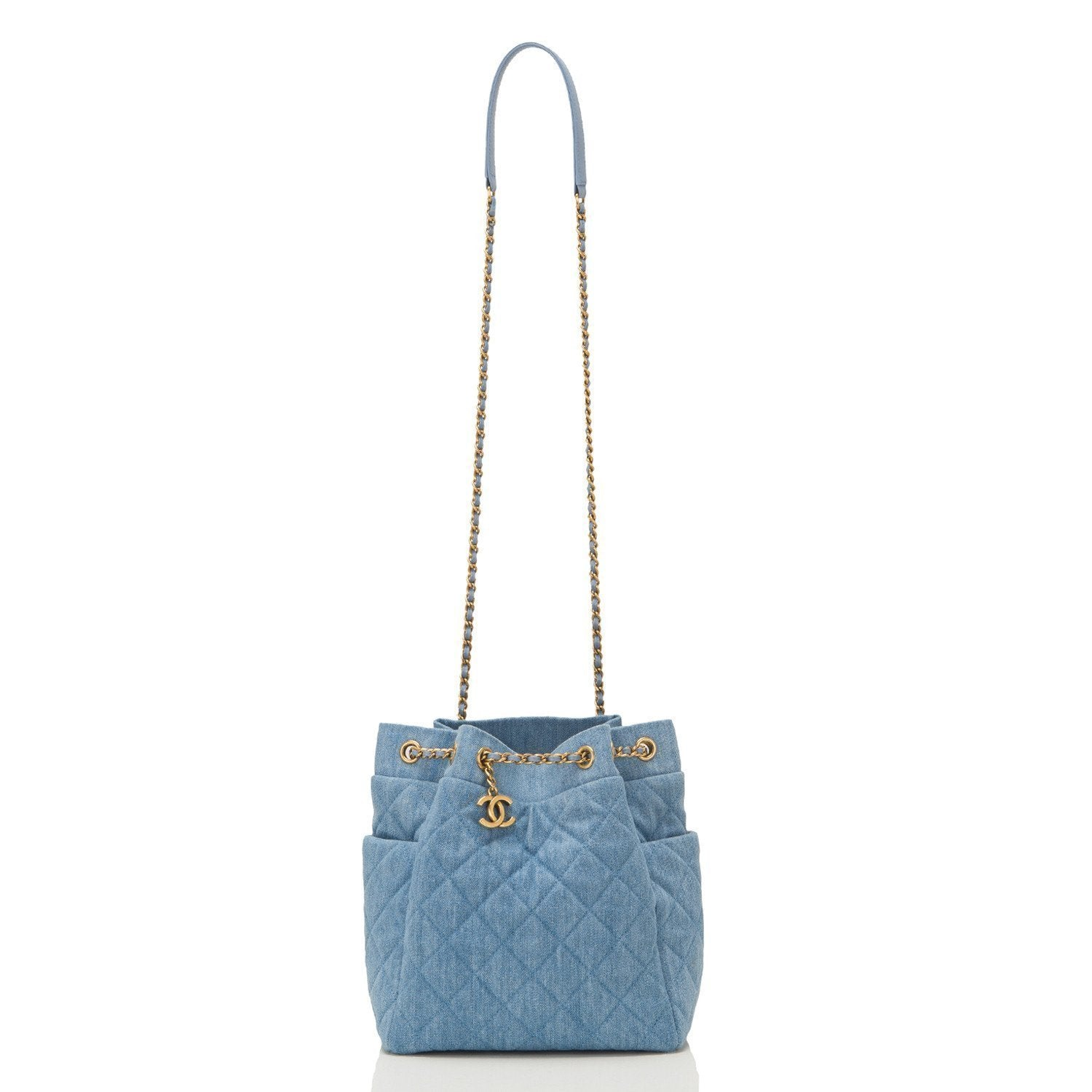 Chanel Light Blue Quilted Denim Drawstring Bag Preloved Mint Handbags