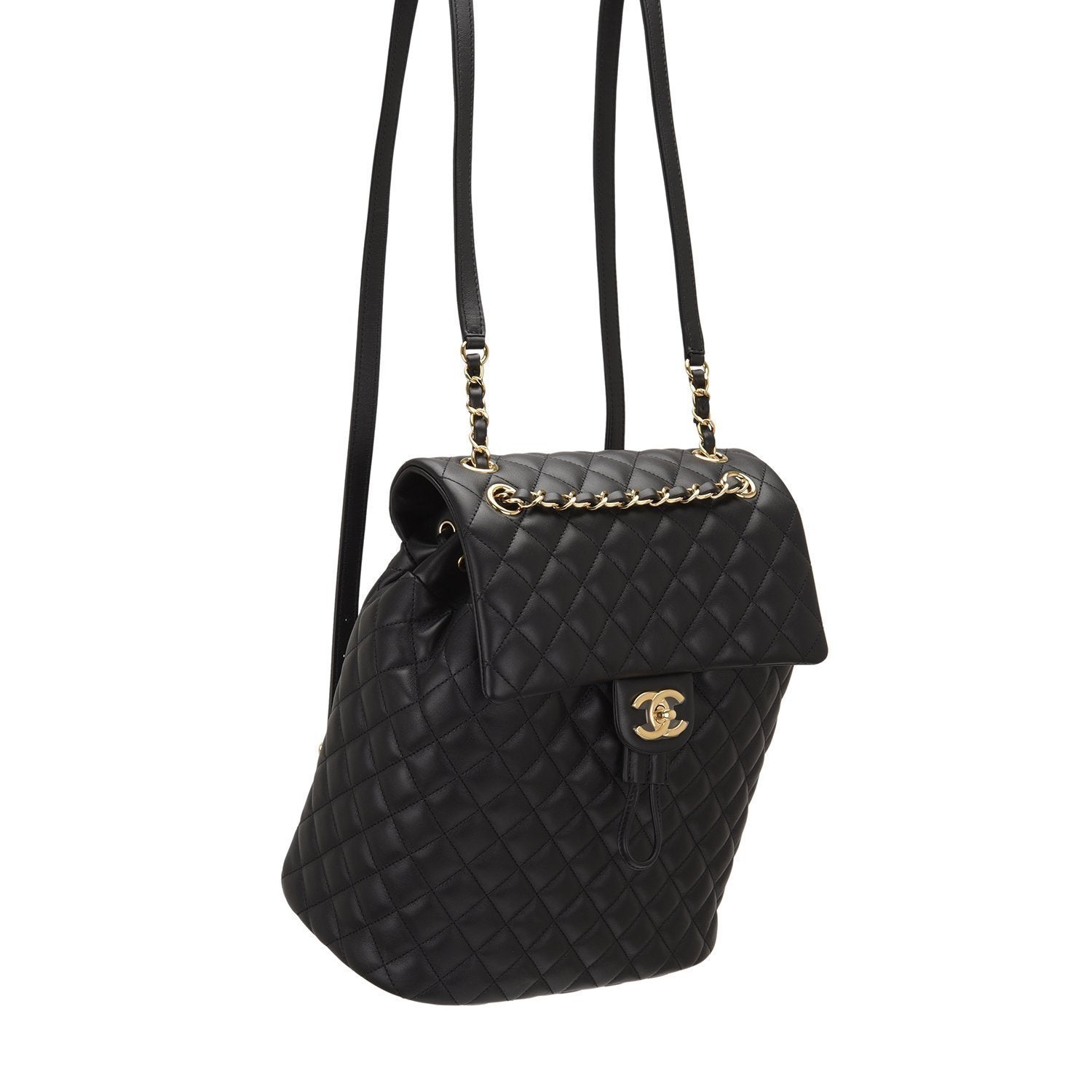 Chanel Urban Spirit Black Quilted Lambskin Large Backpack Handbags