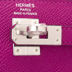 Hermes Rose Pourpre Epsom Sellier Kelly 25Cm Palladium Hardware Handbags
