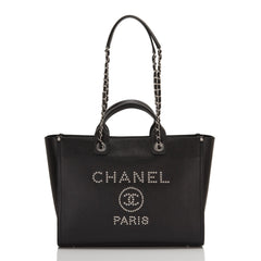 Chanel Black Leather Medium Deauville Tote