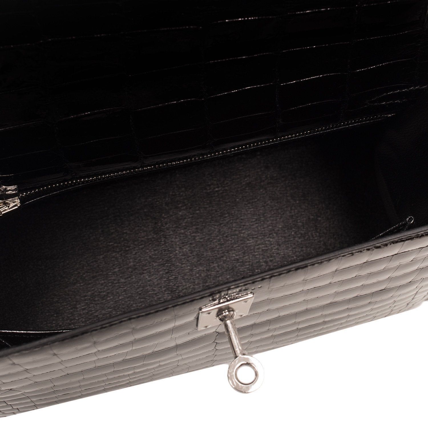 Hermes Black Shiny Niloticus Crocodile Sellier Kelly 25Cm Handbags