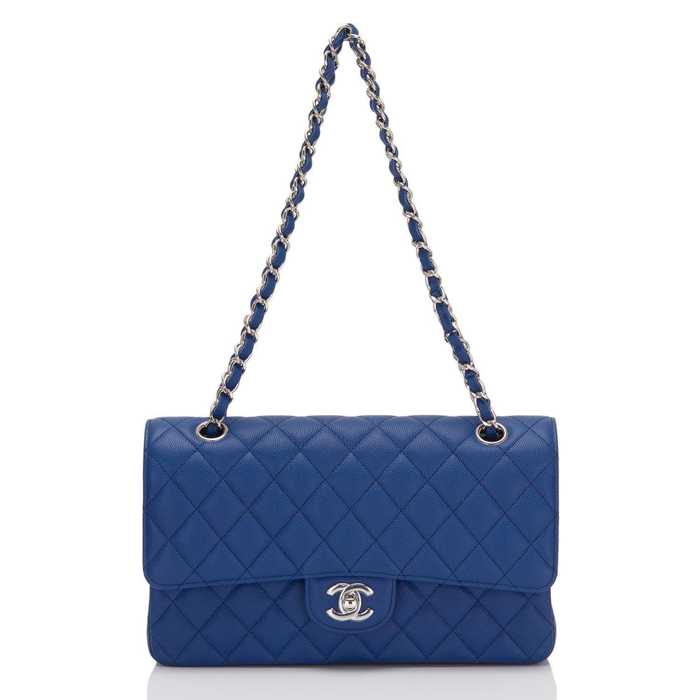 Chanel Dark Blue Quilted Caviar Medium Classic Double Flap Bag Handbags