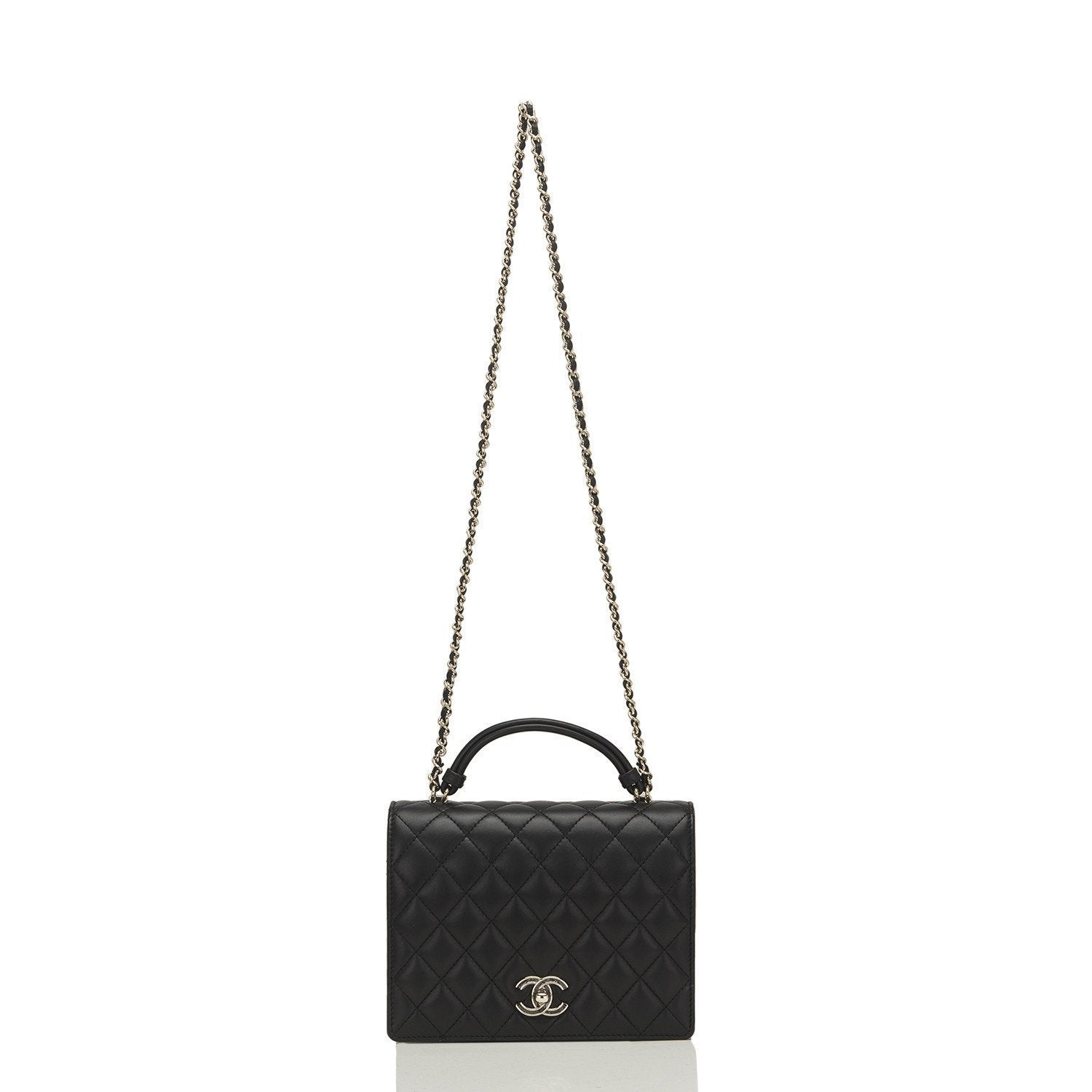 Chanel Black Lambskin Handle Tied Flap Bag Handbags