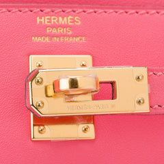 Hermes Rose Azalee Swift Kelly 25Cm Gold Hardware Handbags