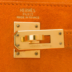 Hermes Orange H Doblis Sellier Kelly 25cm Gold Hardware (Preloved - Excellent)