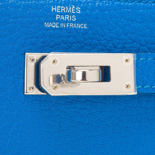 Hermes Blue Hydra Chevre Medium Bifold Kelly Wallet Palladium Hardware Handbags