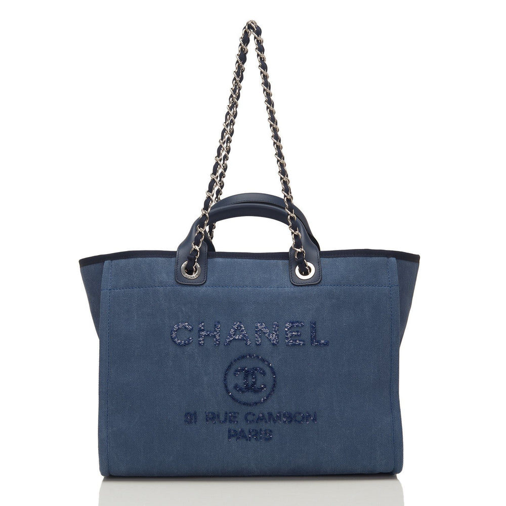 Chanel Large Navy Canvas With Sequins Deauville Tote Handbags