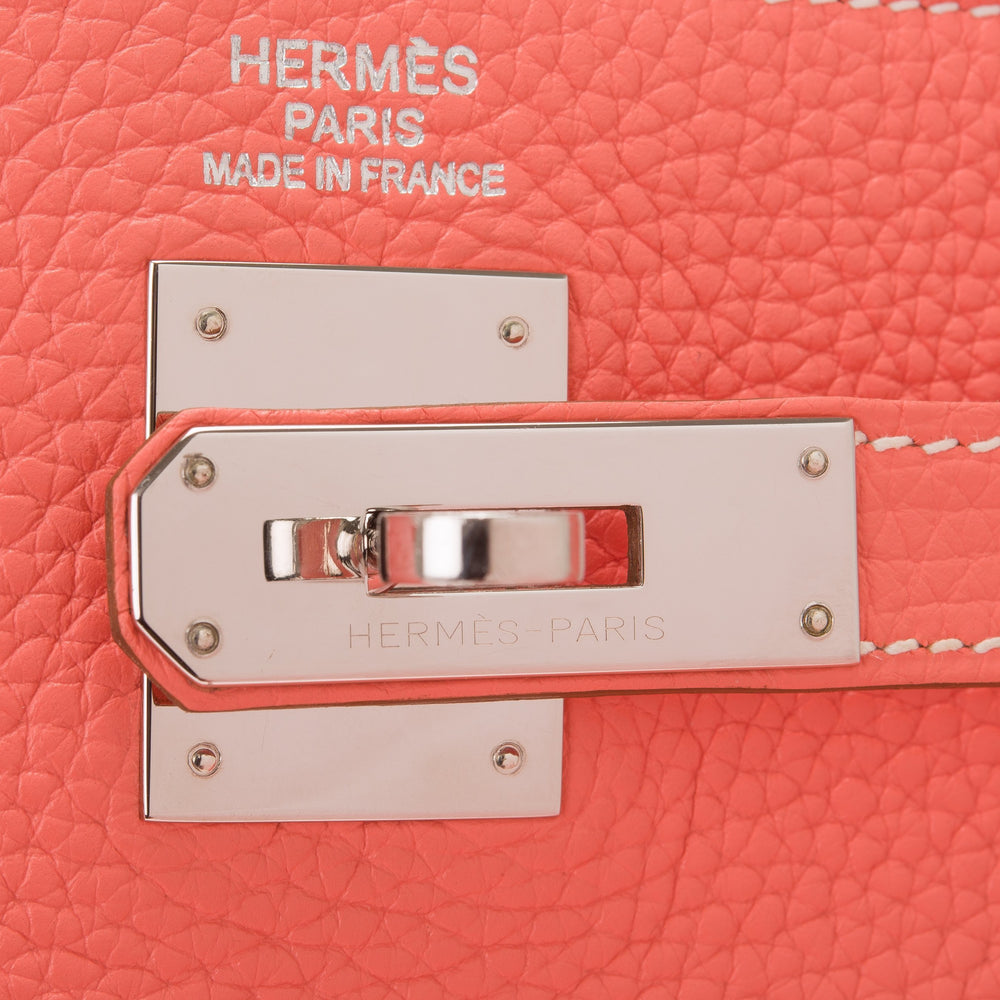 Hermes Crevette Clemence Retourne Kelly 35Cm Palladium Hardware Preloved Mint Handbags