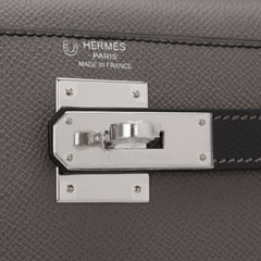 Hermes Hss Bi Color Black And Etain Epsom Kelly 28Cm Palladium Hardware Handbags